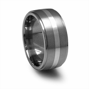 Edward Mirell 10mm Titanium Band with Silver Inlay