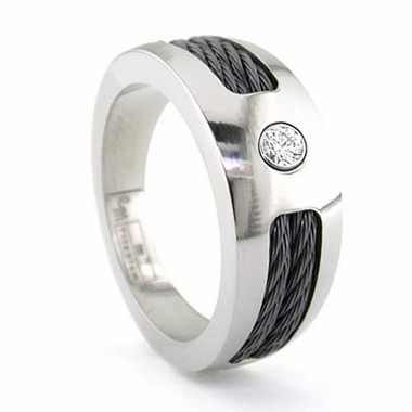 Edward Mirell 10mm Titanium Diamond Ring with Cables