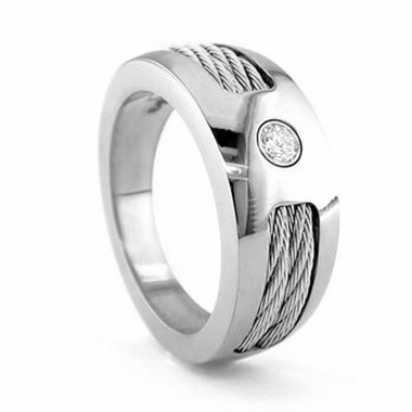 Edward Mirell 10mm Titanium Diamond Ring with Sterling Silver Cables
