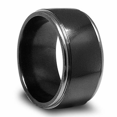 Edward Mirell 11mm Black Titanium Ring with Stepped Edges