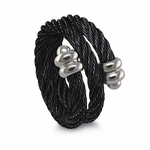 Edward Mirell 3mm Titanium Spiral Black Cable Ring