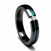 Edward Mirell 4mm Black Titanium and Diamond Tension Set Ring with Rainbow Groove