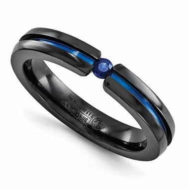 Edward Mirell 4mm Black Titanium and Sapphire Tension Set Ring
