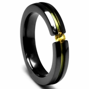 Edward Mirell 4mm Black Titanium and Yellow Sapphire Tension Set Ring