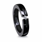 Edward Mirell 4mm Black Titanium Ring with  0.10ctw Tension Set Diamond