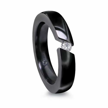 Edward Mirell  4mm Black Titanium Ring with Angled Tension Set 0.10ctw Diamond
