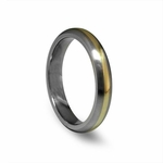 Edward Mirell 4mm Gray Titanium Ring with 14K Yellow Gold Inlay