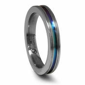 Edward Mirell 4mm Gray Titanium Ring with Rainbow Anodized Groove