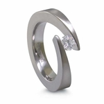 Edward Mirell 4mm Tension Set Diamond Titanium Ring