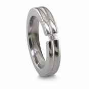 Edward Mirell 4mm Tension Set Diamond Titanium Ring with Groove