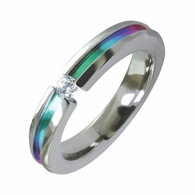 Edward Mirell 4mm Titanium and Diamond Tension Set Ring