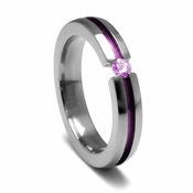 Edward Mirell 4mm Titanium and Pink Sapphire Tension Set Ring