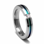 Edward Mirell 4mm Titanium and White Sapphire Tension Set Ring