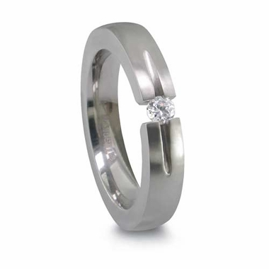 Edward Mirell 4mm Titanium Ring with  0.10ctw Tension Set Diamond