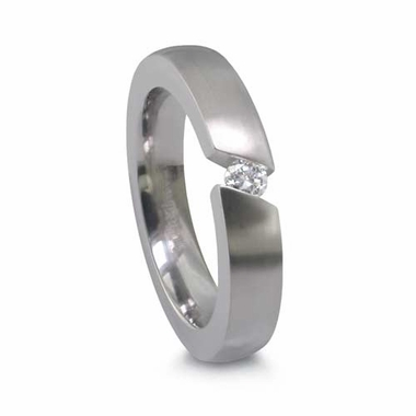 Edward Mirell  4mm Titanium Ring with Angled Tension Set 0.10ctw Diamond