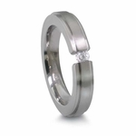 Edward Mirell 4mm Titanium Tension Set Diamond Ring with Stepped Edge