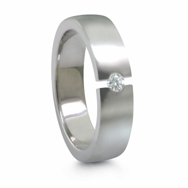 Edward Mirell 5mm Tension Set Diamond Titanium Ring