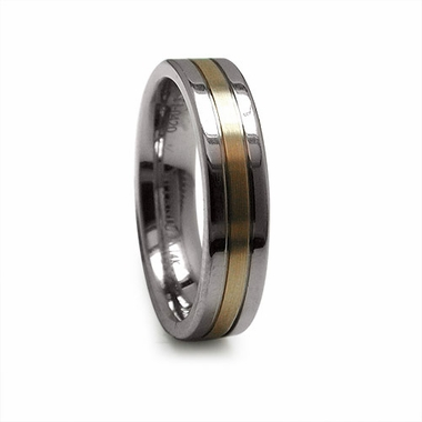 Edward Mirell 5mm Titanium Ring with 14K Yellow Gold Center