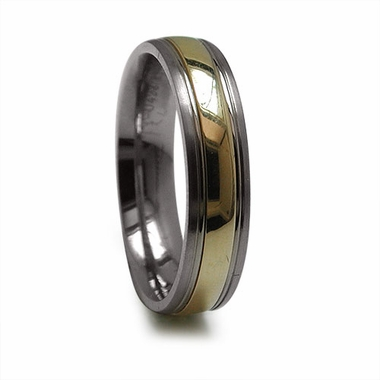 Edward Mirell 5mm Titanium Ring with 14K Yellow Gold Inlay