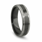 Edward Mirell 6.5mm Black and Gray Titanium Ring