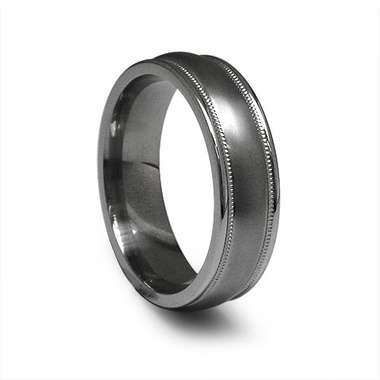 Edward Mirell 6.5mm Gray Titanium Ring with Milgrain