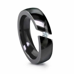 Edward Mirell 6mm Angled Tension Set Diamond  Black Titanium Ring 0.16ctw