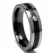 Edward Mirell 6mm Black and Gray Titanium Diamond Ring