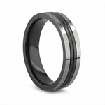 Edward Mirell 6mm Black and Gray Titanium Ring