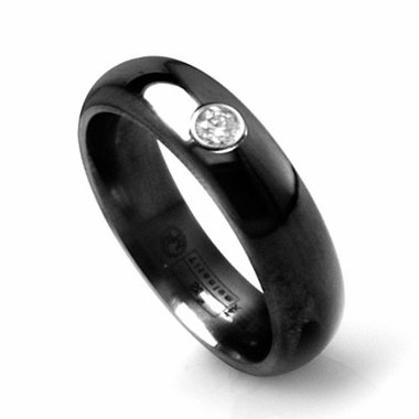 Edward Mirell 6mm Black Titanium Diamond Ring