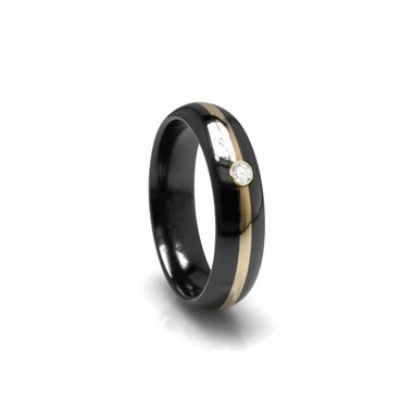 Edward Mirell 6mm Black Titanium Diamond Ring with Gold Inlay