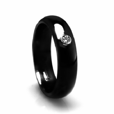 Edward Mirell 6mm Black Titanium Domed Diamond Ring