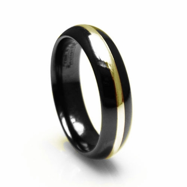 Edward Mirell 6mm Black Titanium Ring with Gold Inlay