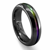 Edward Mirell 6mm Black Titanium Ring with Rainbow Anodized Groove