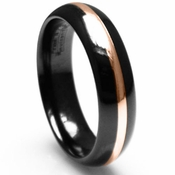Edward Mirell 6mm Black Titanium Ring with Rose Gold Inlay