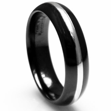 Edward Mirell 6mm Black Titanium Ring with Silver Inlay