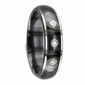 Edward Mirell 6mm Black Titanium Three Diamond Ring