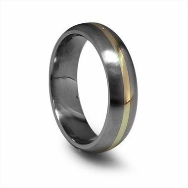 Edward Mirell 6mm Dome Profile Titanium Wedding Band with 14K Yellow Gold