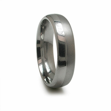 Edward Mirell 6mm Dual Finish Gray Titanium Ring