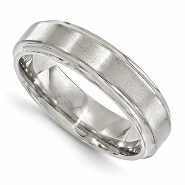 Edward Mirell 6mm Dual Finish Titanium Bevel Ring