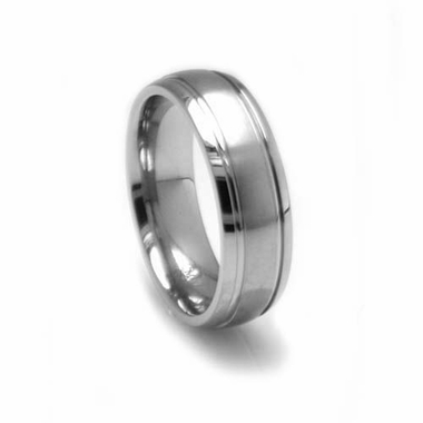 Edward Mirell 6mm Dual Finish Titanium Ring with Grooves
