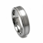 Edward Mirell 6mm Dual Finish Titanium Ring with Milgrain