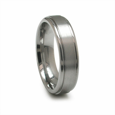 Edward Mirell 6mm Dual Finish Titanium Round Bevel Ring