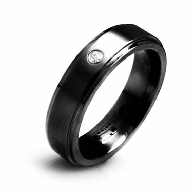 Edward Mirell 6mm Flat Black Titanium Diamond Ring