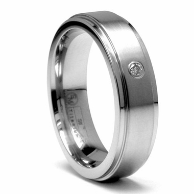 Edward Mirell 6mm Flat Gray Titanium Diamond Ring
