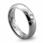 Edward Mirell 6mm Gray Titanium Diamond Ring