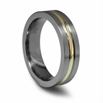 Edward Mirell 6mm Gray Titanium Ring with 14K Yellow Gold Inlay