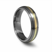 Edward Mirell 6mm Gray Titanium Ring with 18K Yellow Gold Inlay