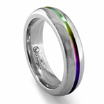 Edward Mirell 6mm Gray Titanium Ring with Rainbow Anodized Groove