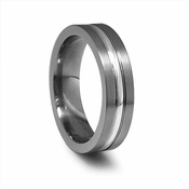Edward Mirell 6mm Gray Titanium Ring with Silver Inlay