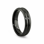 Edward Mirell 6mm Ribbed Black Titanium Ring